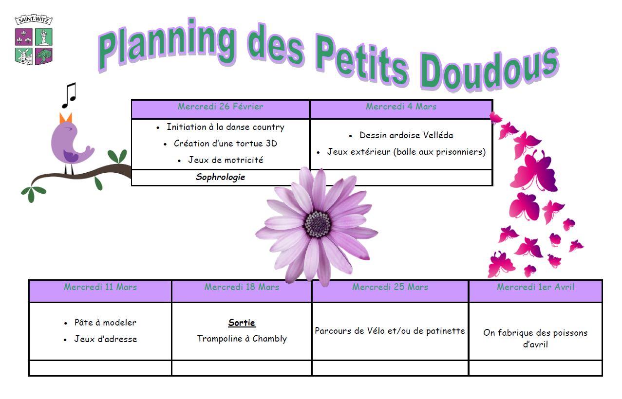 01 Planning des petits doudous mercredis du 2602 au 0104
