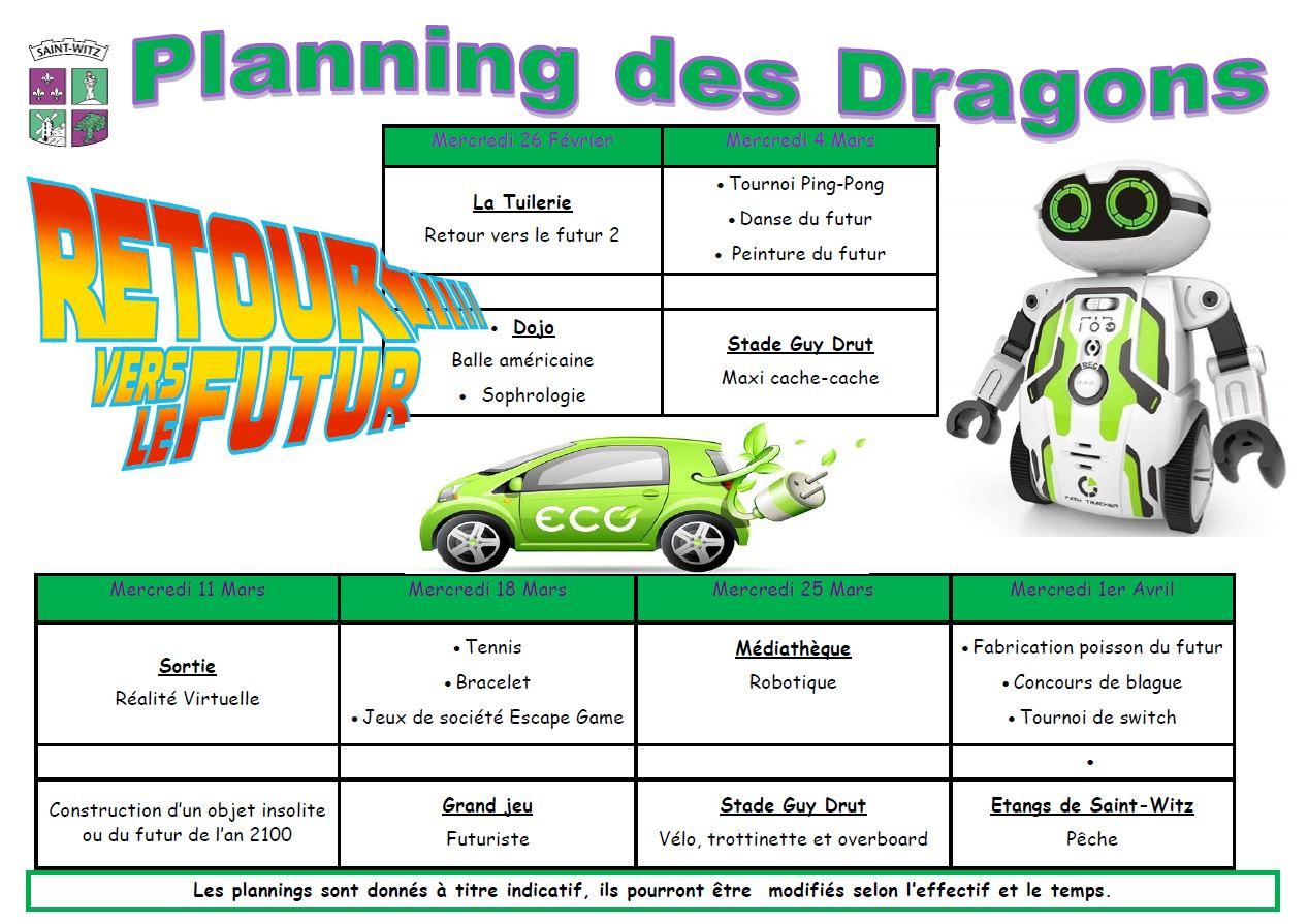 03 Planning des dragons mercredis du 2602 au 0104
