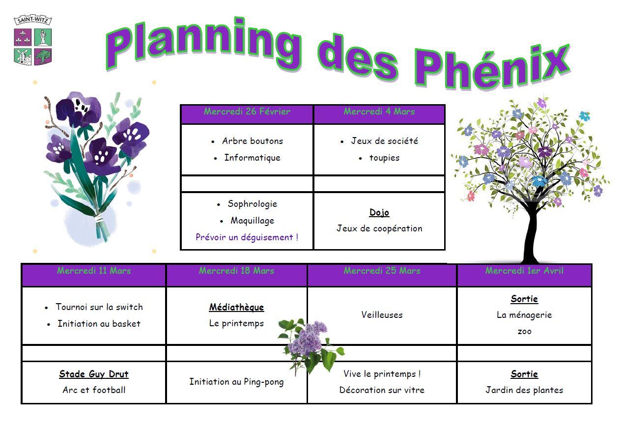 04 Planning des phnix mercredis du 2602 au 0104