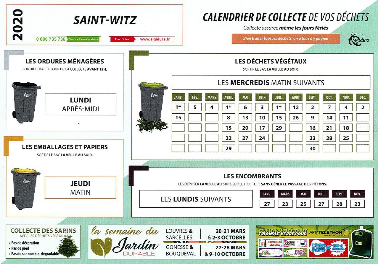 Calendrier de collecte des dchets 2020